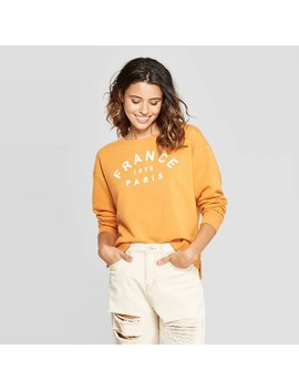 Women's Long Sleeve France Time Fleece Sweatshirt   Fifth Sun (Juniors')   Mustard by Fifth Sun