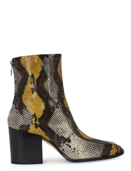 Lidia 75 Snake Effect Leather Ankle Boots by Aeyde
