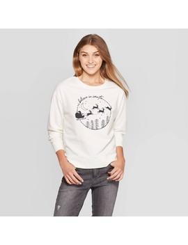 Women's I Believe In Santa Fleece Sweatshirt   Fifth Sun (Juniors')   Off White by Fifth Sun