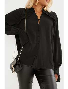 Black Frill Shirt by In The Style