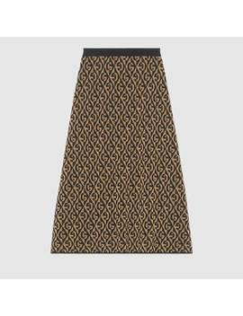 G Rhombus Lamé Wool Jacquard Skirt by Gucci