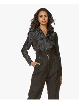 Essential Zijdemix Jacquard Blouse • Zwart Multi by Equipment