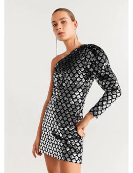 Φόρεμα ασύμμετρο πούλιες by Mango