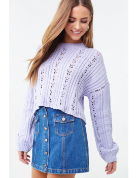 Pointelle Cropped Sweater by Forever 21