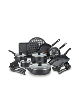 T Fal Kitchen Solutions Cookware Set, Gray, 20 Pieces by T Fal