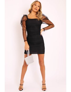 Black Mesh Ruched Long Sleeve Bodycon Dress   Edeline by Rebellious Fashion