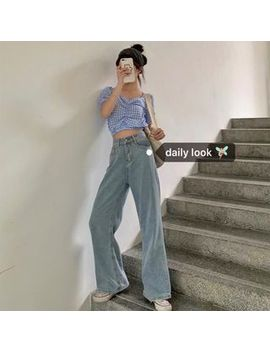Miss Allurie   Checked Short Sleeve Crop Top / High Waist Wide Leg Jeans by Miss Allurie