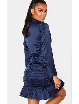Navy Satin Ruched Skirt Frill Hem Bodycon Dress by Prettylittlething