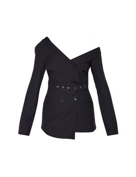 Black Woven One Shoulder Belted Blazer by Prettylittlething
