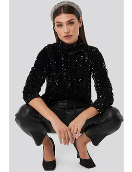 Turtle Neck Sequine Ls Top Black by Na Kd Party