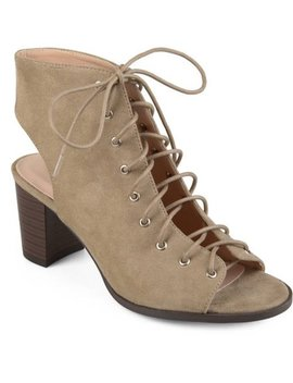 Brinley Co. Women's Faux Suede Lace Up High Heel Booties by Brinley Co.
