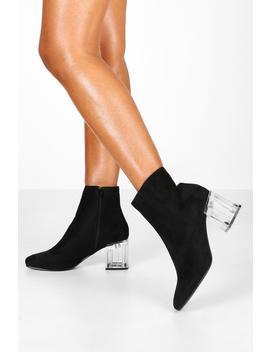 Clear Low Block Heel Shoe Boots by Boohoo