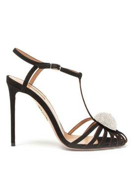 Sublime 105 Crystal T Bar Suede Sandals by Aquazzura
