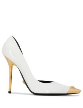 Aurene Gold Tone Tip Pumps by Versace