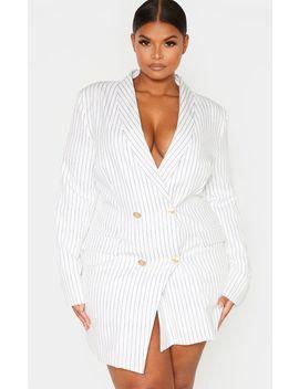 Plus White Pinstripe Gold Button Blazer Dress by Prettylittlething