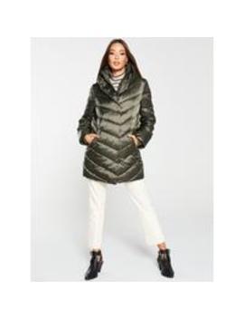 Shawl Collar Long Padded Coat   Khaki by V By Very