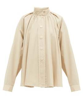 High Neck Cotton Poplin Shirt by Lemaire