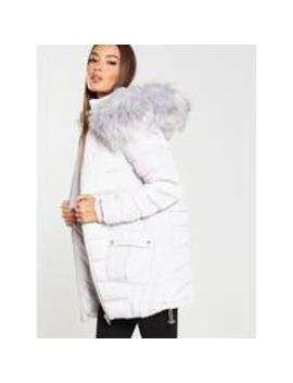 Multi Seam Padded Coat With Faux Fur Trim   Pale Grey by V By Very