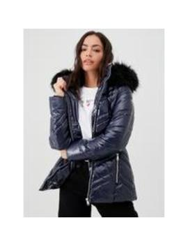 Short High Shine Padded CoatWith Faux Fur Trim   Navy by V By Very