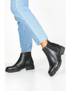 Croc Panel Chunky Chelsea Boots by Boohoo