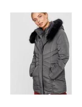 Victoria Short Wrap Padded Coat   Grey by Monsoon