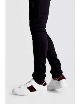 Velvet Side Tape Trainer by Boohoo