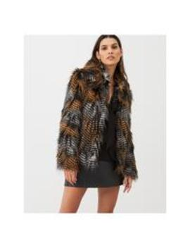 Multi Tonal Faux Fur Coat   Black/Multi by V By Very