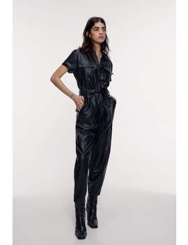 Faux Leather Jumpsuit With Pockets by Zara