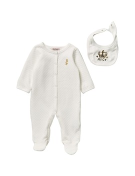 Quilted Footed Coverall With Bib (Baby Girls) by Juicy Couture