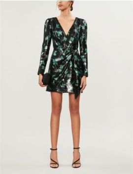 Leaf Pattern Sequinned Mini Dress by Self Portrait