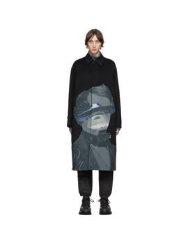 黑色 Undercover 联名羊毛大衣 by Valentino
