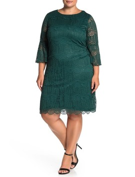 Bell Sleeve Lace Dress (Plus Size) by Sharagano