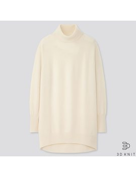 Women 3 D Knit Seamless Cashmere Turtleneck Tunic (14) by Uniqlo