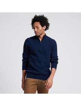 Wool Cashmere Quarterzip Navy by Naadam
