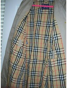 Authentic Burberrys Trench Overcoat Vintage Nova Plaid  Beige Jacket Woman Large by Burberry