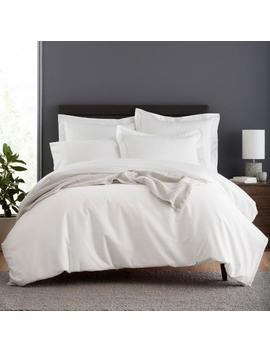 Garment Washed 3 Piece White Solid Organic Cotton Percale Queen Duvet Cover Set by The Company Store