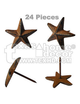 "24 Cast Iron 1 3/4 Inch Texas Star Nails Tacks Rustic Western With 1 3/8"" Nail by Unbranded"