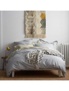 On Point Silver Geometric Organic Cotton Percale King Duvet Cover by Cstudio Home By The Company Store