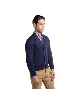 Cotton Cardigan Sweaters   Navy by Peter Manning