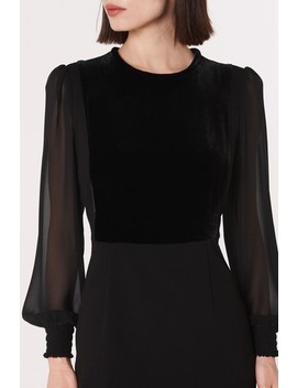 L.K.Bennett Black Aggie Velvet Crepe Dress by Next