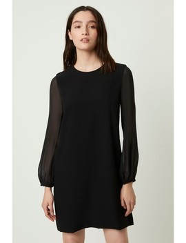 French Connection Black Aada Crepe Sheer Sleeve Shift Dress by Next