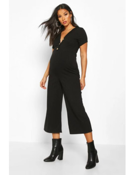Maternity Button Front Rib Cullotte Jumpsuit by Boohoo