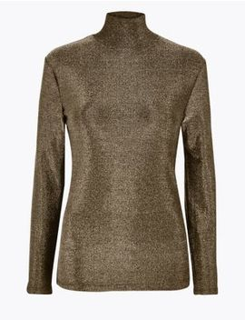 Metallic Long Sleeve Top by Marks & Spencer
