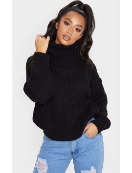 Petite Black Oversized Chunky Knit Jumper  by Prettylittlething