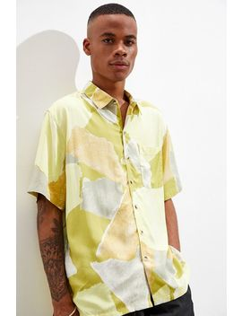 Uo Torn Geo Rayon Short Sleeve Button Down Green Shirt by Urban Outfitters