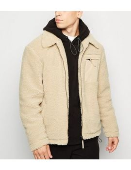 Stone Contrast Pocket Borg Jacket by New Look