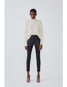High Waist Waxed Effect Leggings by Zara