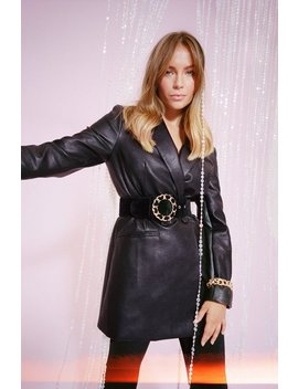 Oversize On The Prize Faux Leather Blazer by Nasty Gal
