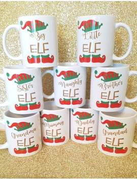 Christmas Green Matching Family Elf Mugs Dad/Mum/Little/Big/Naughty Elf | Elf Mugs | Christmas Mugs | Christmas Table Decor | Elf Family Set by Etsy