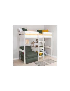 Stompa White High Sleeper Bed Frame, Desk & Khaki Chairbed484/8770 by Argos